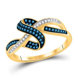 1/4 CTW Round Blue Color Enhanced Diamond Ring 10kt Yellow Gold - REF-26F3M