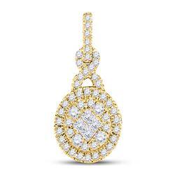 1/2 CTW Princess Diamond Fashion Cluster Pendant 14kt Yellow Gold - REF-45K3R