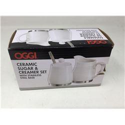 Oggi Ceramic Sugar & Creamer Set with Stainless Steel Base