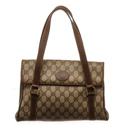 Gucci Brown GG Supreme Leather Vintage Tote Bag