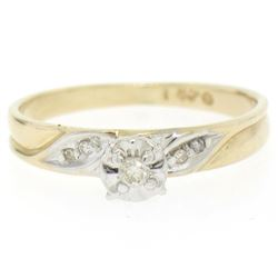 14k Two Tone Gold Illusion Prong Set Transitional Diamond Solitaire Ring