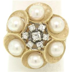 14k Yellow Gold 0.30 ctw Round Diamond & Pearl Cluster Ring w/ Florentine Finish