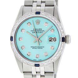 Rolex Mens Stainless Steel Blue Diamond & Sapphire 36MM Datejust Wristwatch