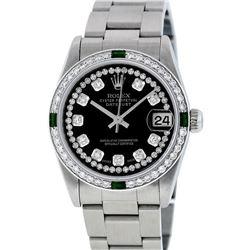 Rolex Womens Midsize 31mm Black String Diamond & Emerald Datejust Wristwatch