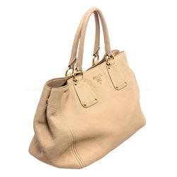 Prada Cream Pebbled Leather Tote Shoulder Bag