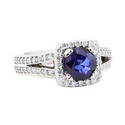 2.28 ctw Sapphire And Diamond Ring - 14KT White Gold