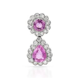 14k White Gold 2.24CTW Pink Sapphire and Diamond Pendant, (SI2-SI3/Pink/H-I)