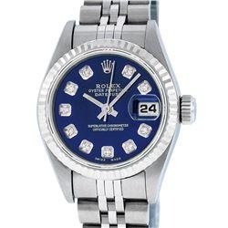 Rolex Ladies Stainless Steel Blue Diamond Quickset Datejust Wristwatch