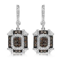 14k White Gold 1.04CTW Diamond and Brown Diamonds Earrings, (SI3/G)