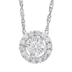 14K White Gold 0.10CTW Diamond Pendant Necklace, (SI3/SI3/H-I)