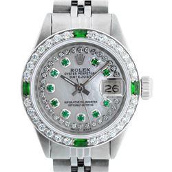 Rolex Ladies Stainless Steel MOP Emerald & Diamond Datejust Wristwatch