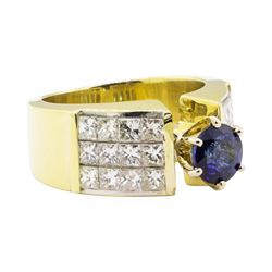 3.18 ctw Blue Sapphire And Diamond Ring - 18KT Yellow Gold