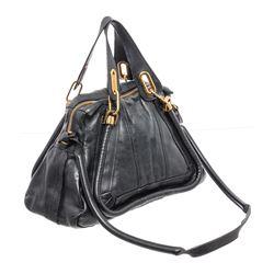 Chloe Black Leather Medium Paraty Satchel Shoulder Bag