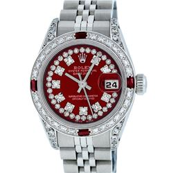 Rolex Ladies Stainless Steel 26MM Red Diamond Lugs Datejust Wristwatch