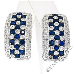 14kt White Gold 2.32 ctw Sapphire and Diamond Checkerboard Cuff Earrings