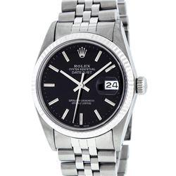 Rolex Mens Stainless Steel Black Index 36mm Datejust Wristwatch