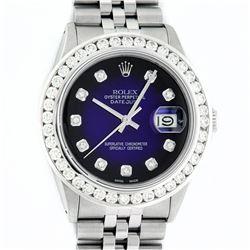 Rolex Mens Stainless Steel Blue Vignette 3 ctw Diamond Datejust Wristwatch With