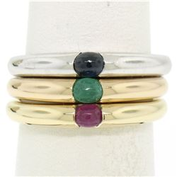 14K Tri Color Gold 3 Stackable Tension Set Emerald Sapphire Ruby Solitaire Rings