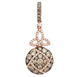 14k Rose Gold 1.01CTW Diamond and Brown Diamonds Pendant, (VS-SI1/F-G)