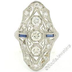 Art Deco Platinum 1.20 ctw Old European Diamond Long Filigree Dinner Ring