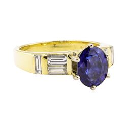 2.93 ctw Blue Sapphire And Diamond With Elevated Shoulders - 18KT Yellow Gold