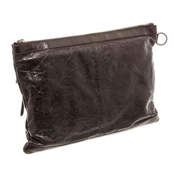 Balenciaga Brown Ageneau Leather Classic Clip L Clutch