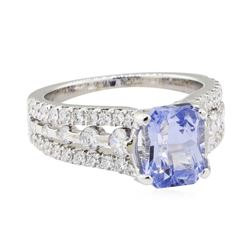 3.13 ctw Sapphire and Diamond Ring - 14KT White Gold