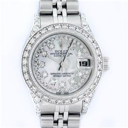 Rolex Ladies Stainless Steel Quickset Mother Of Pearl Diamond Lugs Jubilee Datej