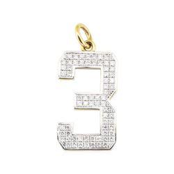 "2.04 ctw Diamond ""3"" Pendant - 14KT Yellow and White Gold"