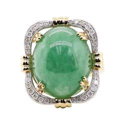 22.19 ctw Jadeite and Diamond Ring - 14KT Yellow Gold