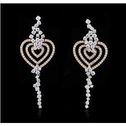 6.10 ctw Diamond Earrings - 18KT Two-Tone Gold