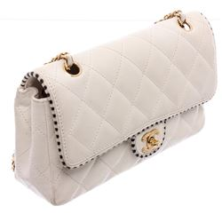 Chanel White Quilted Calfskin Leather Classic Flap Bag