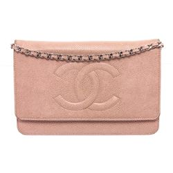 Chanel Light Pink Caviar Leather Wallet On Chain WOC Bag