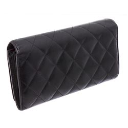 Chanel Black Quilted Leather Ligne Cambon Continental Wallet