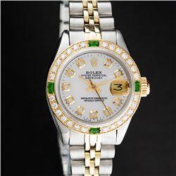 Rolex Ladies 2 Tone MOP 18K Gold Diamond Bezel & Emerald Datejust Wristwatch