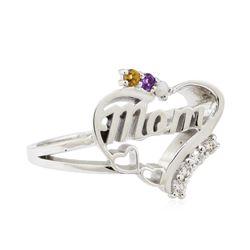 0.22 ctw Gemstone and Diamond Ring - 14KT White Gold