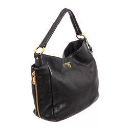 Prada Black Leather Hobo Shoulder Bag