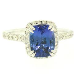 14k White Gold 3.03 ctw Diamond and Cushion Cut Tanzanite Quality Modern Ring