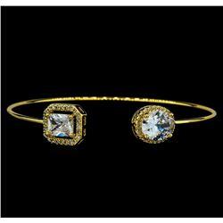 CZ Open Bangle Bracelet - Gold Plated