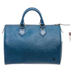 Louis Vuitton Blue Epi Leather Speedy 30 cm Satchel Bag