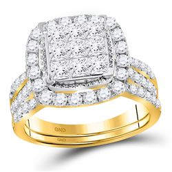 1 & 3/4 CTW Princess Diamond Halo Bridal Wedding Engagement Ring 14kt Yellow Gold - REF-120A3N