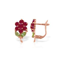 Genuine 2.12 ctw Peridot & Ruby Earrings 14KT Rose Gold - REF-42P7H