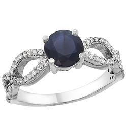 1.30 CTW Blue Sapphire & Diamond Ring 14K White Gold - REF-106Y5V