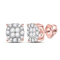 1/4 CTW Princess Round Diamond Fashion Cluster Earrings 14kt Rose Gold - REF-27X3T