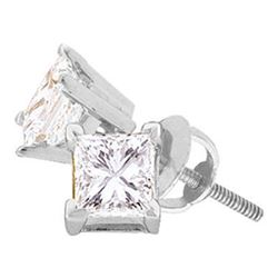 1/6 CTW Unisex Princess Diamond Solitaire Stud Earrings 14kt White Gold - REF-13Y2X