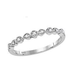 1/20 CTW Round Diamond Stackable Ring 10kt White Gold - REF-9R6H