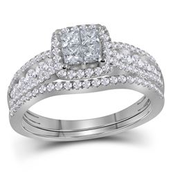 1 CTW Princess Diamond Halo Bridal Wedding Engagement Ring 14kt White Gold - REF-77N9Y