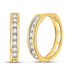 1/5 CTW Round Diamond Hoop Earrings 10kt Yellow Gold - REF-20K3R