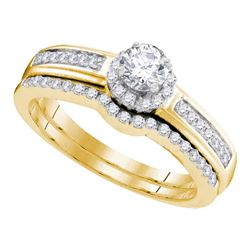 1/2 CTW Round Diamond Bridal Wedding Engagement Ring 10kt Yellow Gold - REF-37R5H