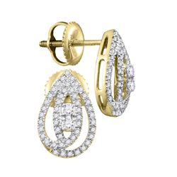 1/4 CTW Round Diamond Teardrop Earrings 10kt Yellow Gold - REF-19K2R